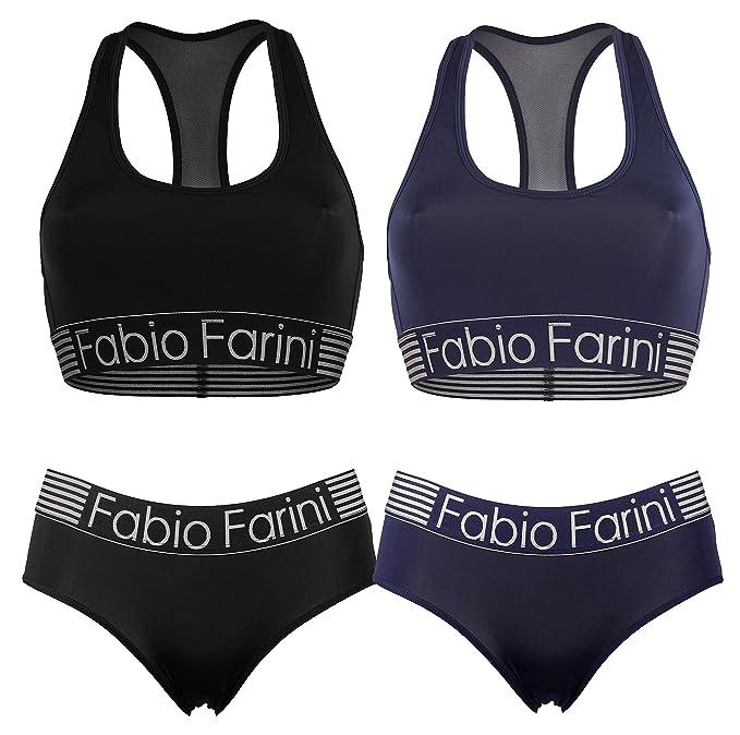 kaufen große Auswahl an Farben und Designs vorbestellen Fabio Farini Sport-BH Set, Racerback-BH und passende Panty in Schwarz oder  Marineblau