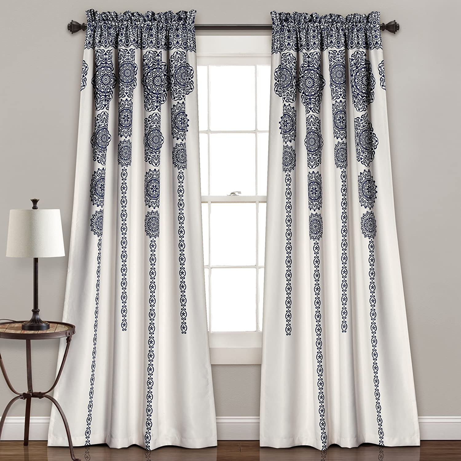 "Lush Decor, Navy Stripe Medallion Curtains | Fabric Mandala Bohemian Damask Print Room Darkening Window Panel Set for Living, Dining, Bedroom (Pair), 84"" x 52 L"