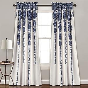 "Lush Decor, Navy Stripe Medallion Curtains | Fabric Mandala Bohemian Damask Print Room Darkening Window Panel Set for Living, Dining, Bedroom (Pair), 84"" x 52 L"