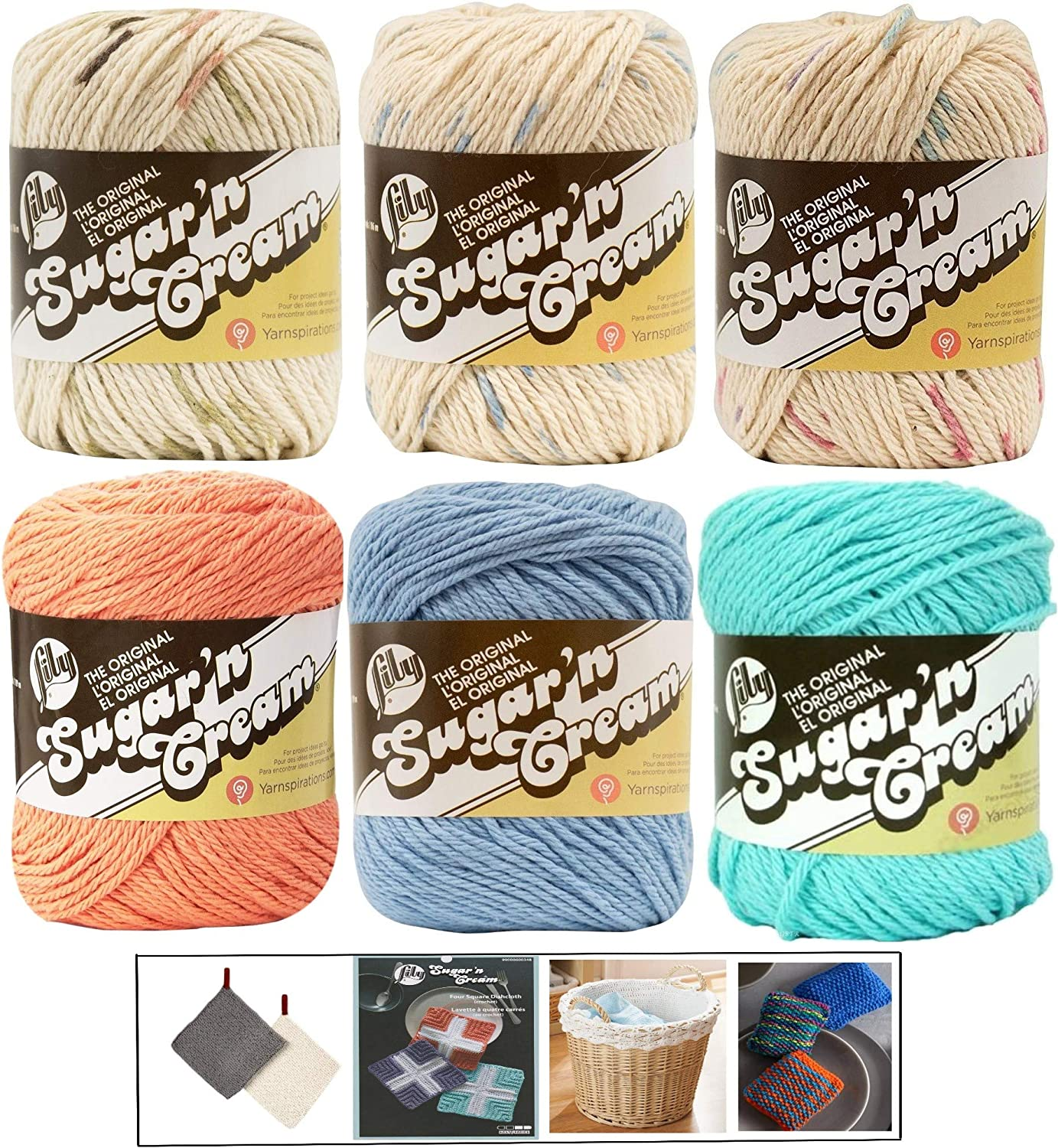 Asst 35 Medium Number 4 Worsted Bundle with 4 Patterns 6-Pack Spinrite Variety Assortment Lily Sugarn Cream Yarn 100 Percent Cotton Solids and Ombres