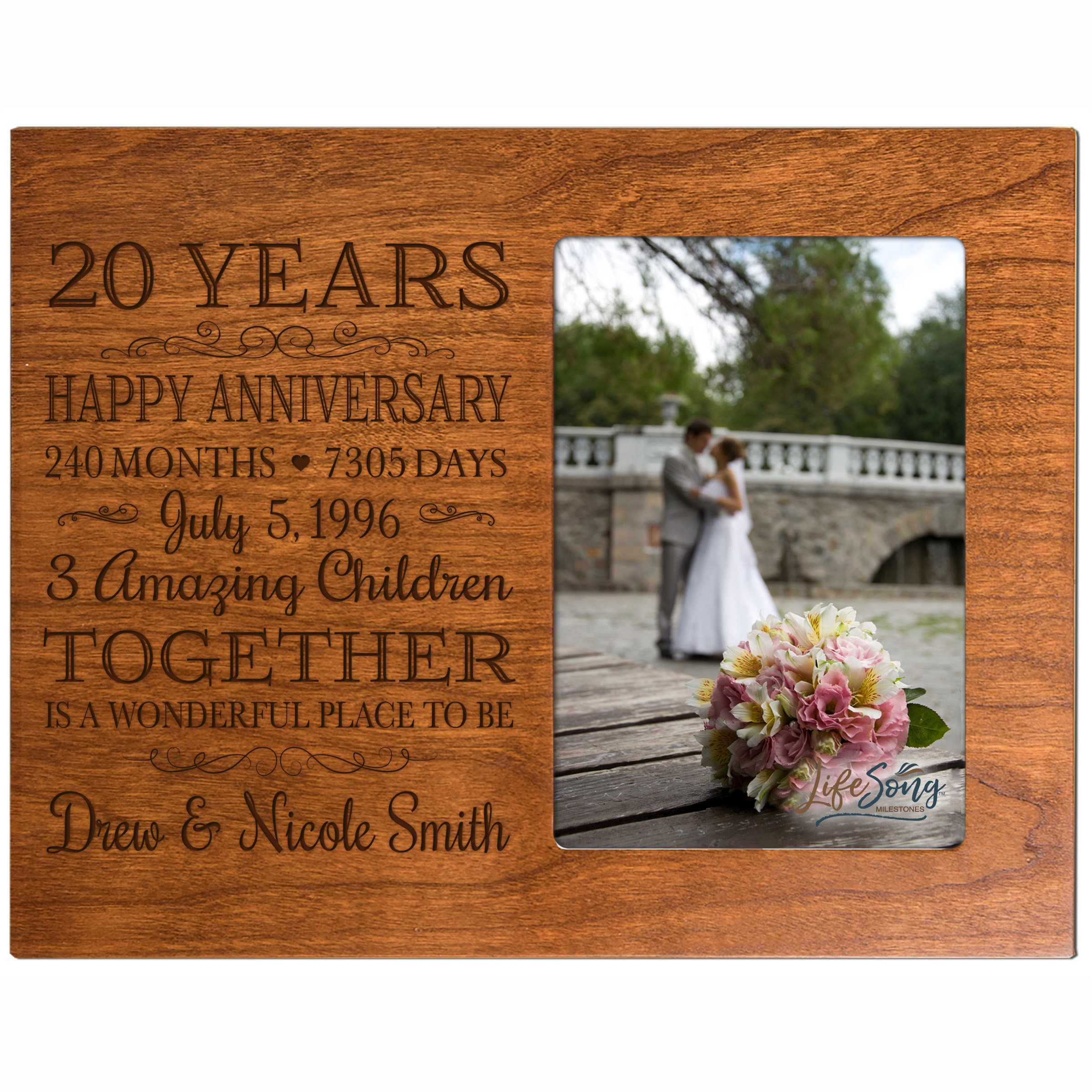 Personalized Twenty year anniversary gift for her him couple Custom Engraved wedding gift for husband wife girlfriend boyfriend photo frame holds 4x6 photo by LifeSong Milestones (cherry)