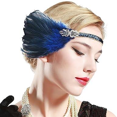 16ba2f08cdab01 Lange Schwarze Feder mit elastischem Band ArtiDeco 1920s Feder Stirnband  20er Jahre Stil Art Deco Flapper ...