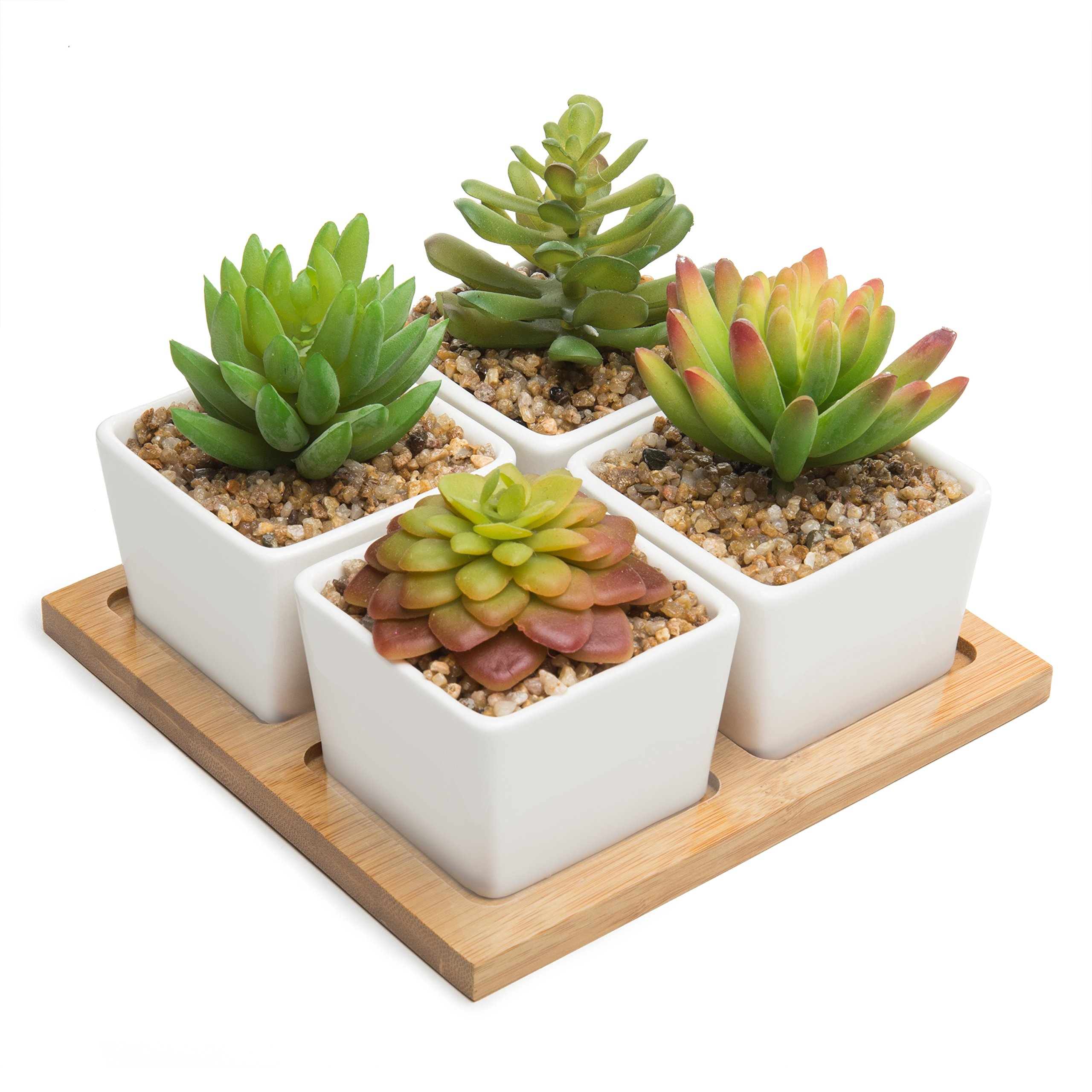 MyGift Set of 4 Artificial Succulents in White Ceramic Pots with Removable Bamboo Tray
