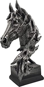 LOOYAR Resin Horse Head Statue Sculpture Ornament Collectible Figurine Craft Furnishing for Home Décor Farm House Living Room Porch Decoration Office Desk Desktop Table Wine Cabinet Arrangement Gift