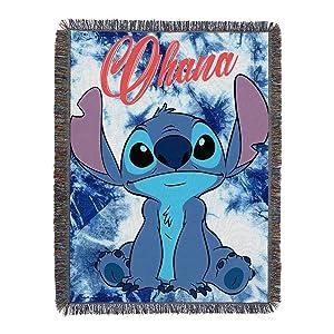 """Lilo & Stitch, """"Shibori Stitch"""" Woven Tapestry Throw Blanket, 48"""" x 60"""", Multi Color"""
