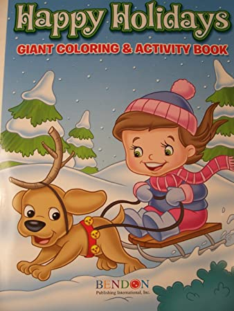 happy holidays 160 page giant coloring and activity book christmas edition girl and dog