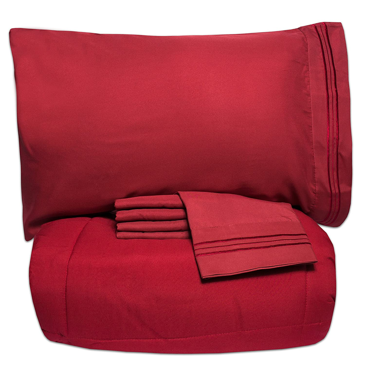5 Piece Bed-In-A-Bag Solid Color Comforter and Sheet Set, Full, Burgundy