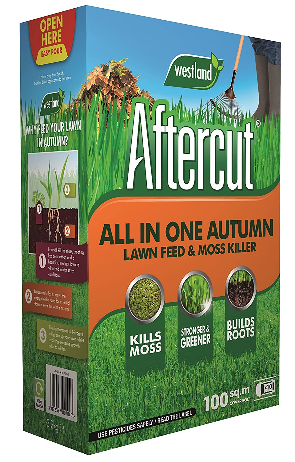 Aftercut All In One Autumn Lawn Care (Lawn Feed and Moss killer), 100 m2, 3.5 Kg Westland Horticulture 20400456