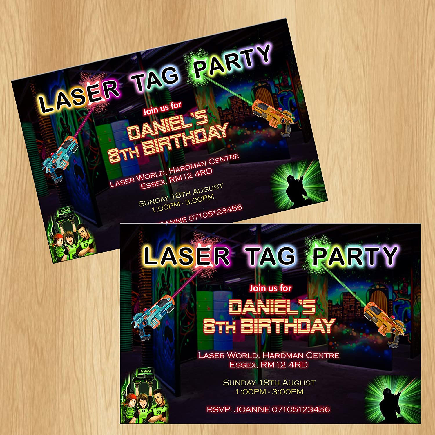 Laser Tag Party Invitations Personalised Birthday Invites: Amazon.co ...