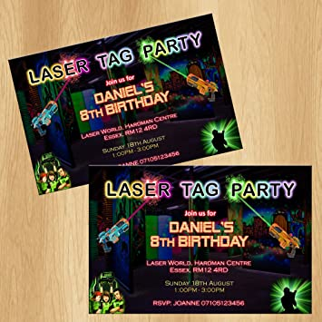 Laser tag party invitations personalised birthday invites amazon laser tag party invitations personalised birthday invites filmwisefo