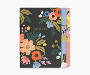 Rifle Paper Co. Lively Floral Stitched Notebook Set, Set Of 3 Notebooks, 64 Ruled Pages With Gold Ink, Canvas Paper Cover With White Text Paper Interior