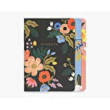Rifle Paper Co. Lively Floral Stitched Notebook Set, Set Of 3 Notebooks, 64 Ruled Pages With Gold Ink, Canvas Paper…