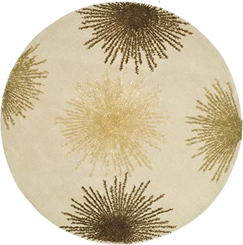 Safavieh Soho Collection SOH712A Handmade Fireworks Beige and Multicolored Premium Wool Round Area Rug 8' Diameter