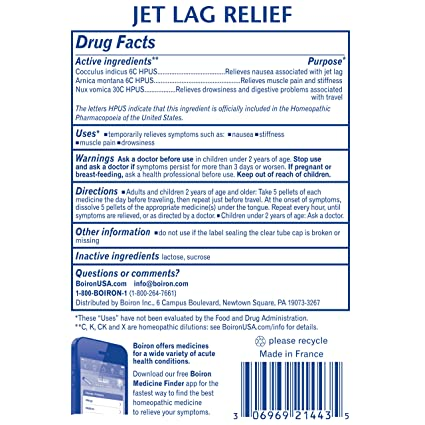 Boiron Jet Lag Relief, 3 Pack of 80-Pellet Tubes, Homeopathic Medicine to  Relieve Nausea,