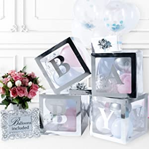 Baby Shower Decorations & Gender Reveal Party Supplies - 52 Piece Premium Silver Baby Balloon Boxes for Girl & for Boy with Balloons Included