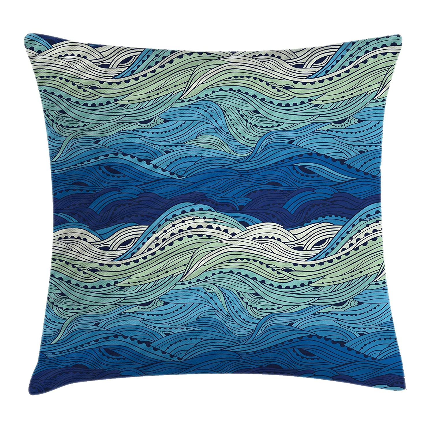 Decorative Square Accent Pillow Case Blue Light Blue Mint Green Conceptual Ocean Themed Artwork Hand Drawn Waves Seascape Maritime Ambesonne Aquatic Throw Pillow Cushion Cover by 24 X 24 Inches