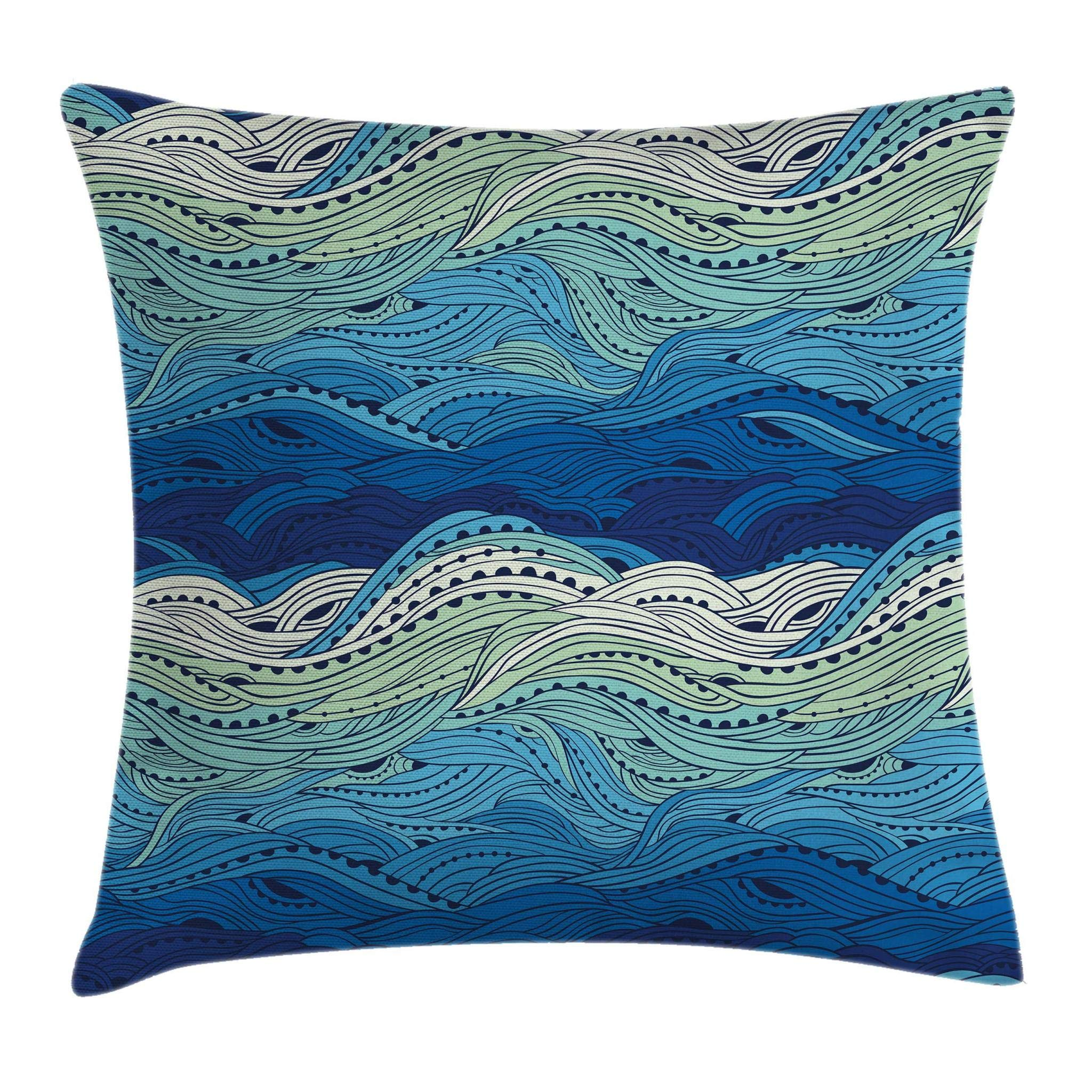 Ambesonne Aquatic Throw Pillow Cushion Cover by, Conceptual Ocean Themed Artwork Hand Drawn Waves Seascape Maritime, Decorative Square Accent Pillow Case, 18 X 18 Inches, Blue Light Blue Mint Green
