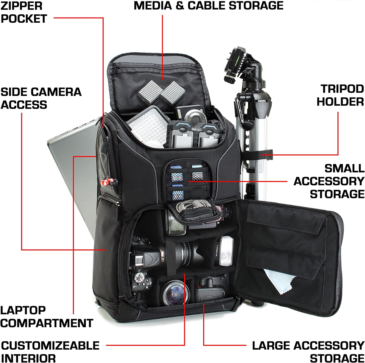 Amazon.com : Professional Camera Backpack DSLR Photo Bag with Comfort Strap  Design, Laptop, Tripod Holder, Lens and Accessory Storage for Canon EOS  Rebel T5, T5i, T6i and More Full-Sized Digital SLR Cameras :