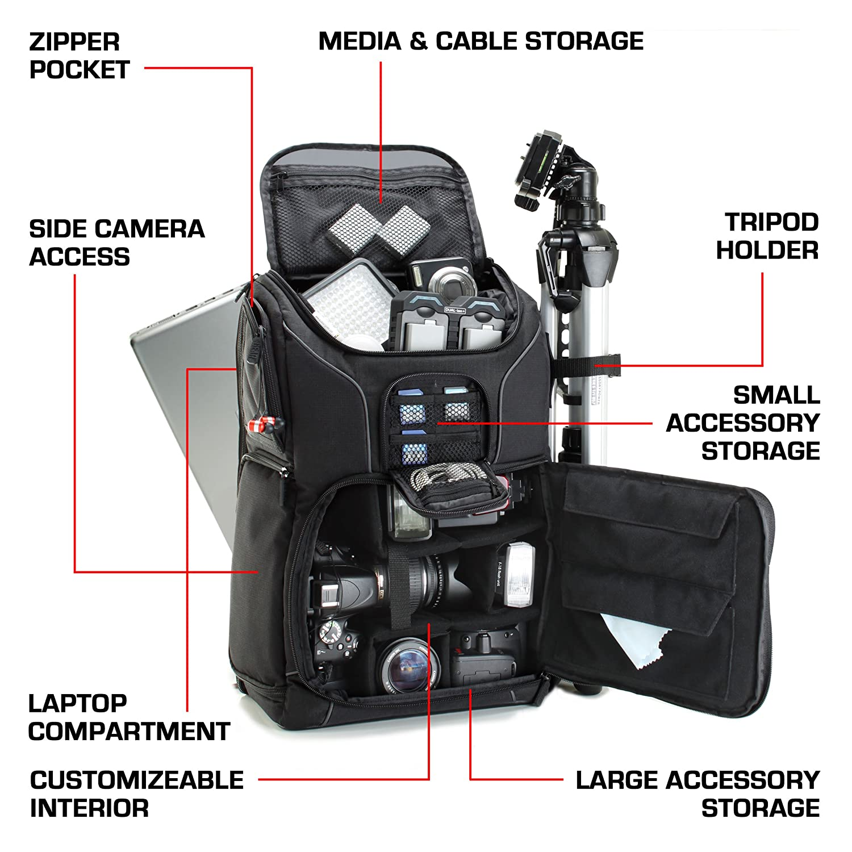 Nikon pour Canon par USA Gear Compartiment Ordinateur Portable /& Rangements Accessoires Pentax Et Plus Encore Sac /à Dos Professionnel Appareil Photo R/éflex Num/érique avec Support Tr/épied