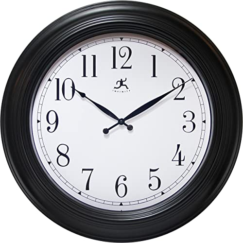 Infinity Instruments 24 Inch Traditional Black Wall Clock