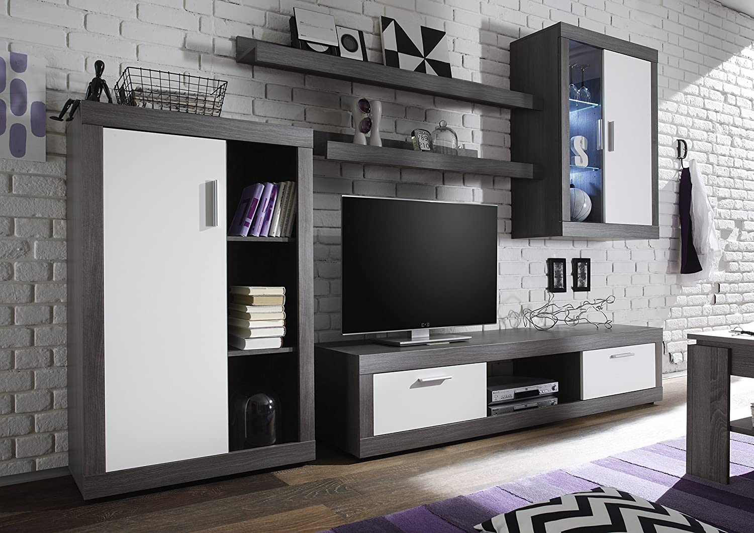 Furnline Ocean White Tv Stand Wall Unit Living Room Furniture Set  # Meuble Mur Tv Design