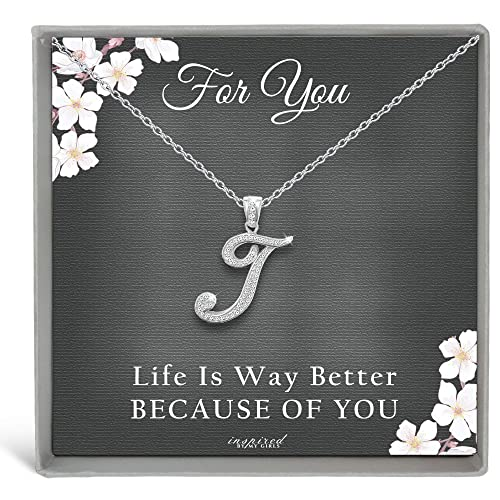 Sterling Silver Initial Necklace CZ Cursive Script Letter Adjustable Chain Keepsake Card Gift for Her