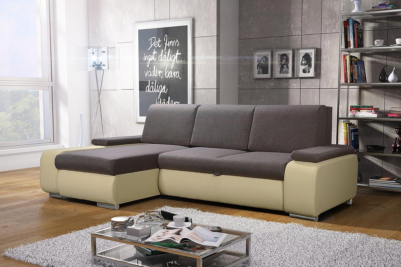 Donald Schlafsofa Sofa mit Schlaffunktion Luxus Designer Ecksofa Eckgarnitur, Schenkelmaß: 255cm x 160cm, Ottomane Links, sofabett
