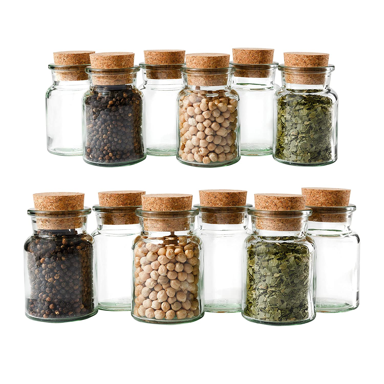 Mambocat Set of 12 Spice Jars | Capacity 150 ml | Reusable Glass Jar with Cork Lid | High-Quality Round Glass | Storage of Tea Herbs Spices