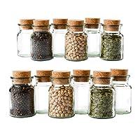 MamboCat 12er Set Gewürzgläser   Füllmenge 150 ml   Wiederverwendbare Glasdose + Korkverschluss   Hochwertiges rundes Glas   Aufbewahrung von Tee Kräutern Gewürzen