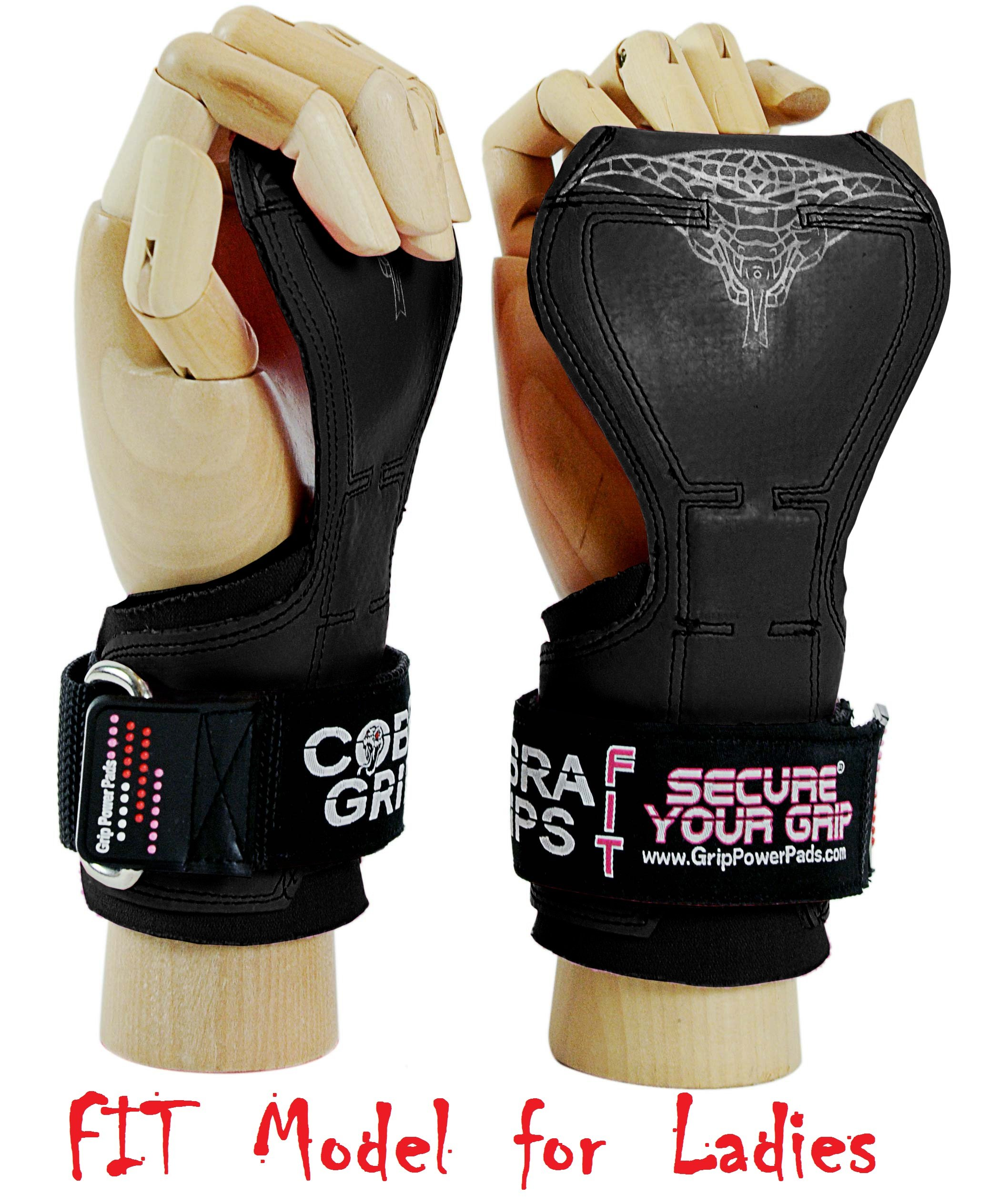 Cobra Grips FIT FOR LADIES! Weight Lifting Gloves Heavy Duty Straps Alternative to Power Lifting Hooks For Deadlifts With Built in Adjustable Neoprene Padded Wrist Wrap Support. (Women Black Rubber) by Grip Power Pads
