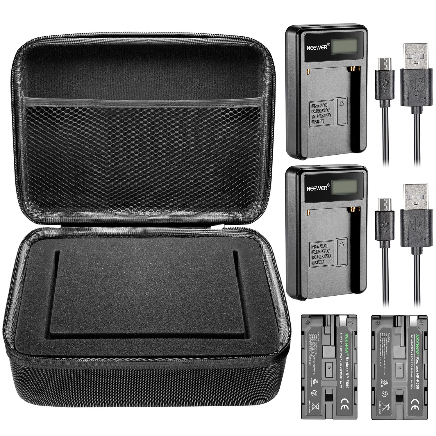 Neewer 7 inches Camera Field Monitor Accessory Kit for Neewer NW759 74K 760, Feelworld FW759 759P 760 74K and Others: Monitor Carrying Case,2 Pieces NP-F550 Replacement Battery,2 Pieces USB Charger
