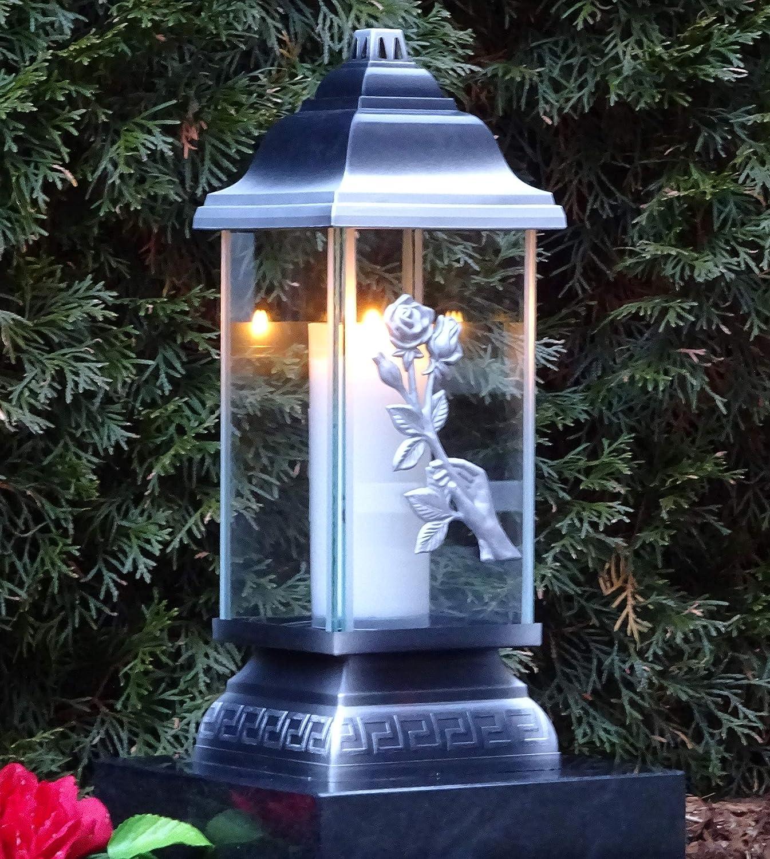 Grablaterne Grablampe Lampe Grableuchte Grablicht Grabschmuck Herz Kerze Silber