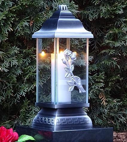 Grablaterne LED Kerze+Granit Sockel Grablampe Lampe Grableuchte Grablicht Rose