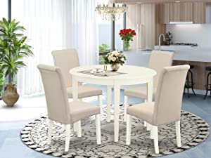 East West Furniture 5Pc Dining Set Includes a Small Round Dinette Table and Four Parson Chairs with Cream Fabric, Finish, Linen White