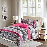 Comfort Spaces - Sally Comforter Set - 3 Piece - Hot Pink & Black - Zebra, Damask, Polka dot print - Twin/Twin XL Size, includes 1 Comforter, 1 Sham, 1 Decorative Pillow