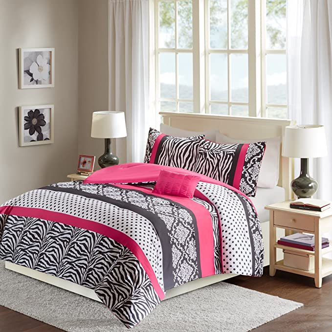 Review Queen Size Comforter Set - 4 Pieces All Season Bed In A Bag Set - Pink And Black Bedding Sets - Polka Dot, Zebra, Damask Print Bed Set Includs 1 Comforter, 2 Sham, 1 Décor Pillow - Sally