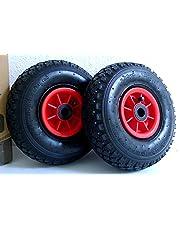 D&F - Set da 2 ruote pneumatiche 3.00-4, con boccola 2PR, dimensioni 260 x 85 mm, ricambio per carretto e carriola
