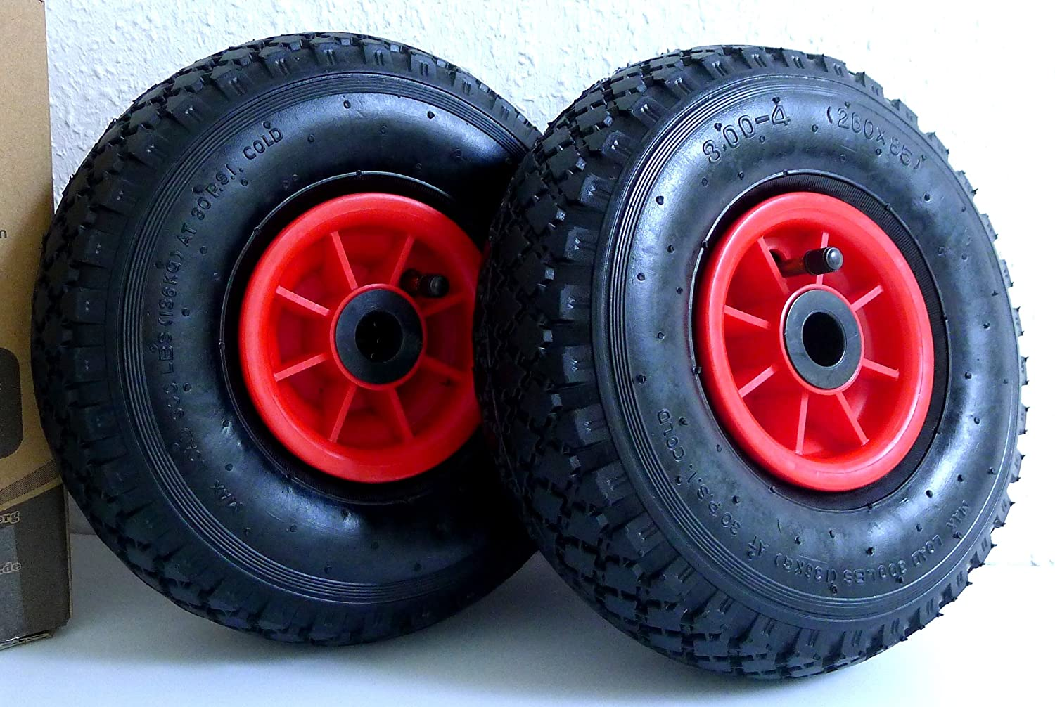 2 x sack trolley wheel pneumatic tyre 3.00-4  (2P.R), 260 mm x 85  mm, sack truck spare tyre D&F