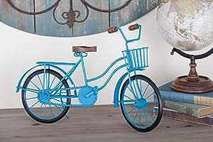 Deco 79 27351 Metal and Wood Bicycle Sculpture, Blue/Brown/Black