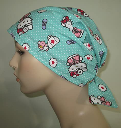 d8476aa7d Amazon.com: Scrub Cap Dr. Hello Kitty Chemo Hat Alopecia Head Cover Cancer  Scarf: Handmade