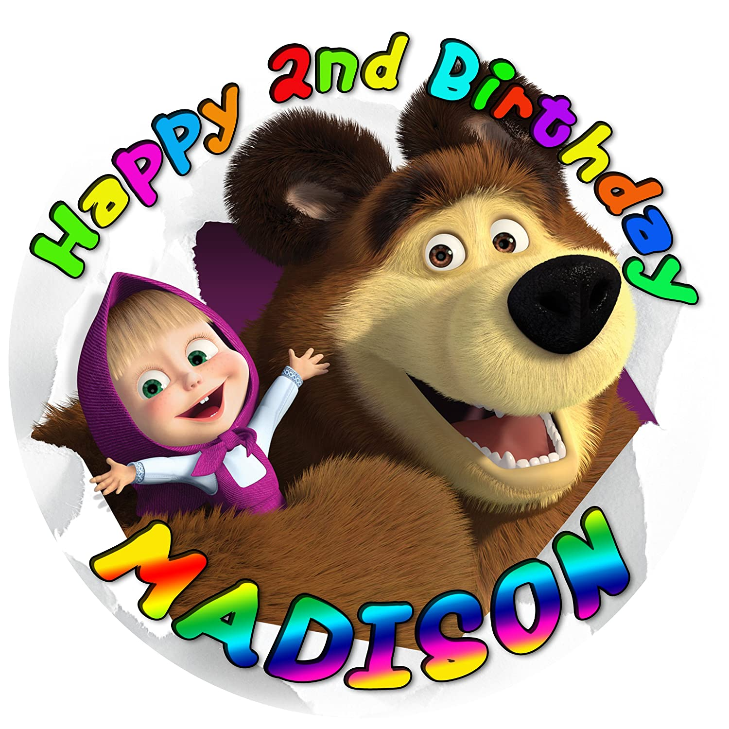 Personalised MASHA AND THE BEAR Birthday Edible Icing Cake Topper