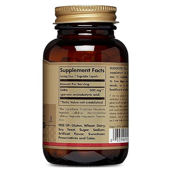 Solgar Gaba 500 mg. Contiene Ácido gamma amino butírico, un neurotransmisor que favorece la relajación - 50 cápsulas: Amazon.es: Salud y cuidado personal