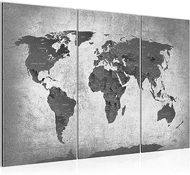 Kunstdruck Weltkarte World Map Leinwand aus Vlies Bild Bilder Wandbild XXL