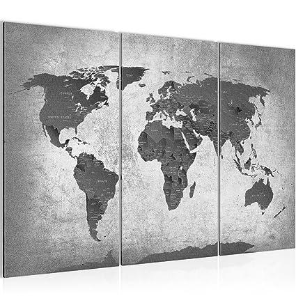 Bilder Weltkarte World map Wandbild 120 x 80 cm Vlies - Leinwand Bild XXL  Format Wandbilder Wohnzimmer Wohnung Deko Kunstdrucke Grau 3 Teilig - Made  ...