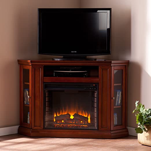 Amazon.com: SEI Claremont Media Console with Electric Fireplace ...