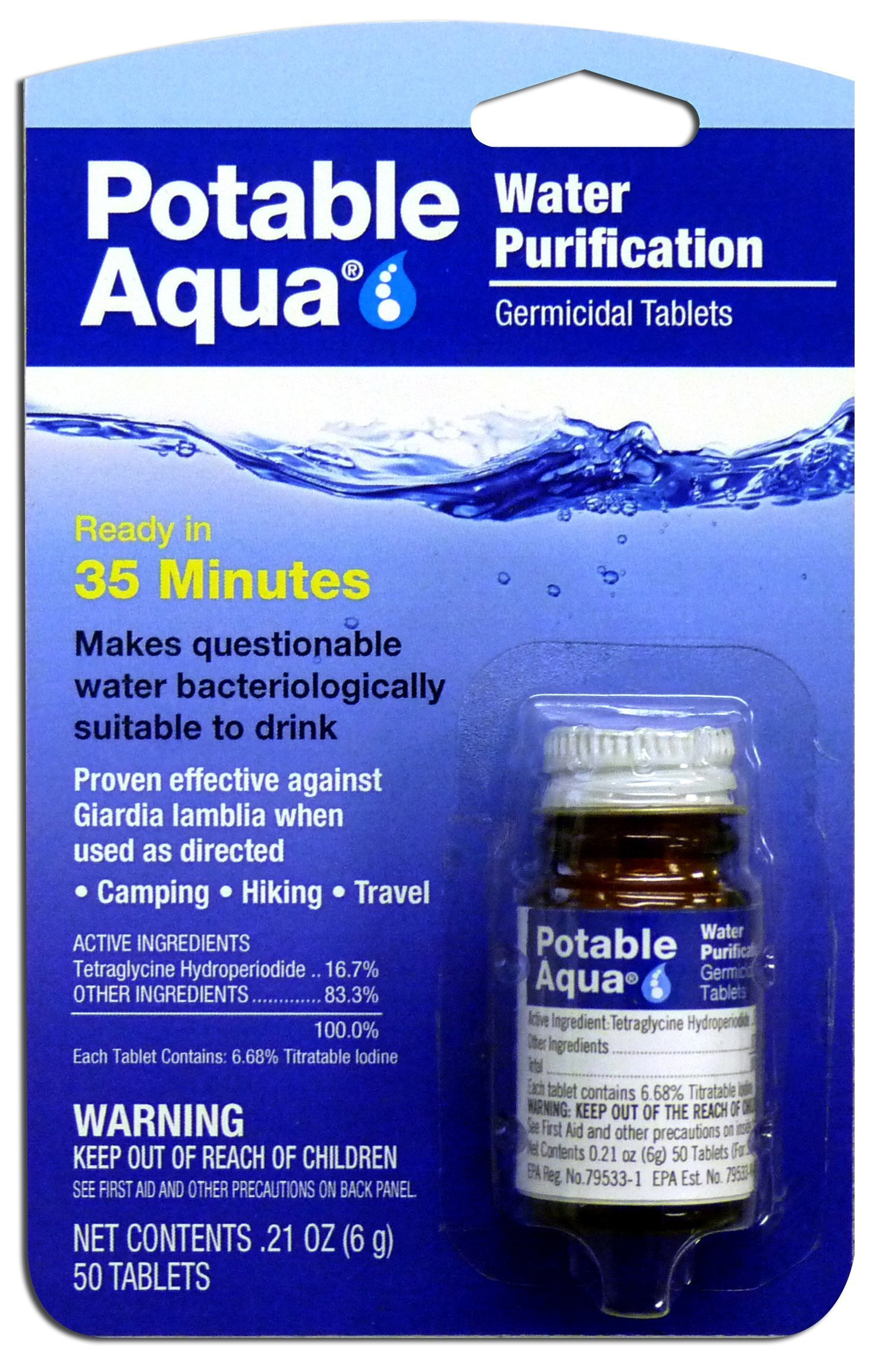 Potable Aqua Water Purification Treatment (50 Tablets) - Portable Drinking Water Treatment Ideal for Emergencies, Survival, Travel, and Camping