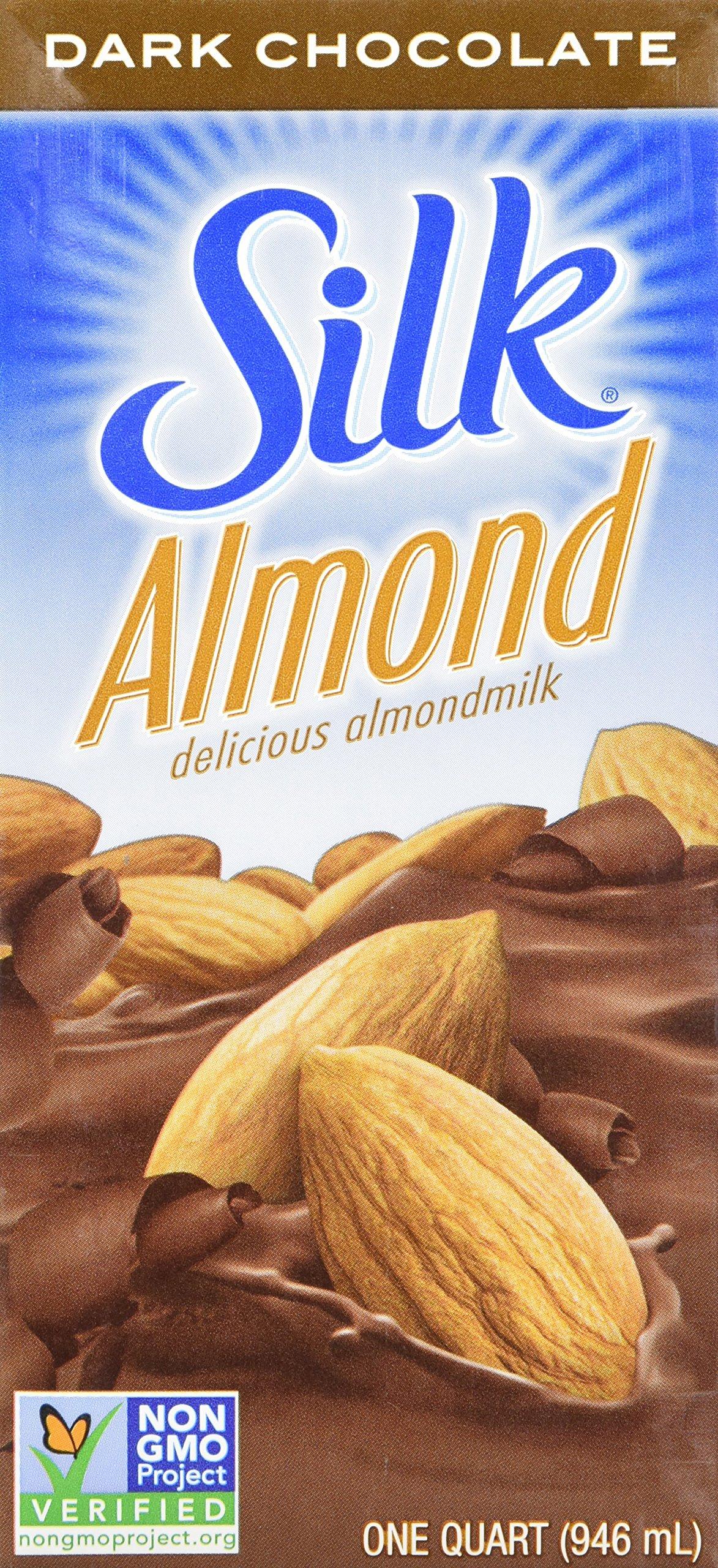 Silk Almond Milk Dark Chocolate 32 oz (Pack of 6) Shelf Stable, Dark Chocolate Flavored Non-Dairy Almond Milk, Individually Packaged by Silk (Image #1)