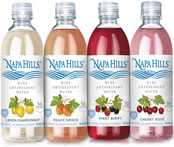 Napa Hills Wine Antioxidant Water - Variety Pack of Flavored Wine Water