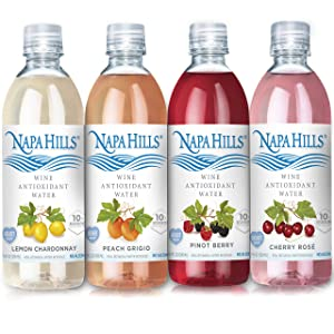 Napa Hills Wine Antioxidant Water - Variety Pack of Flavored Wine Water, Non-Alcoholic Resveratrol Enriched Drink - 12 Pack - No Wine Taste, No Carbs, No Calories - 3 Cherry, Berry, Peach, Lemon