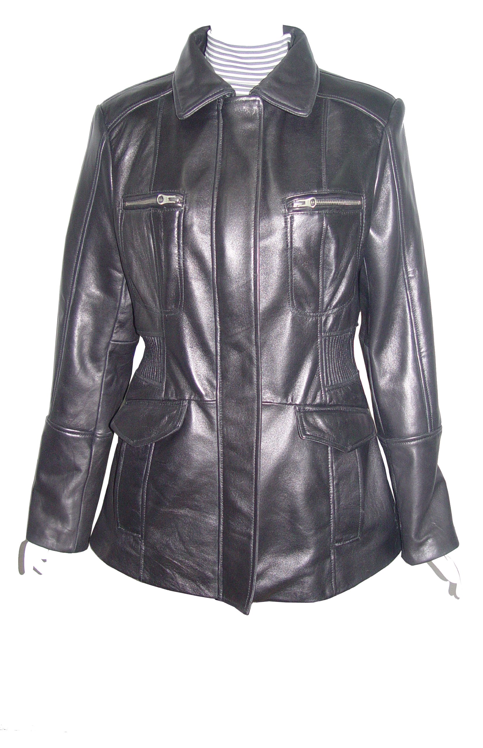 Nettailor Big Women Tall PLUS & ALL SIZE 4203 Leather Casual Jacket Placket Front
